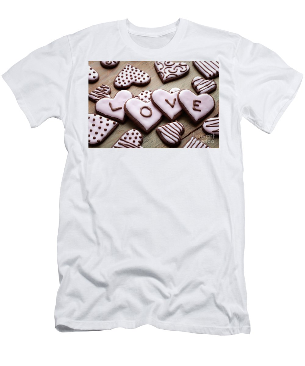 Anniversary Men's T-Shirt (Athletic Fit) featuring the photograph Heart Cookies by Kati Finell