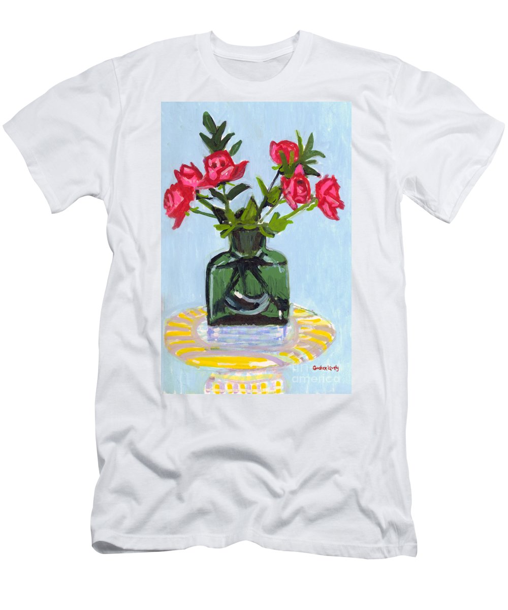 Red Roses Men's T-Shirt (Athletic Fit) featuring the painting Jeff's Vase And Rodger's Roses by Candace Lovely
