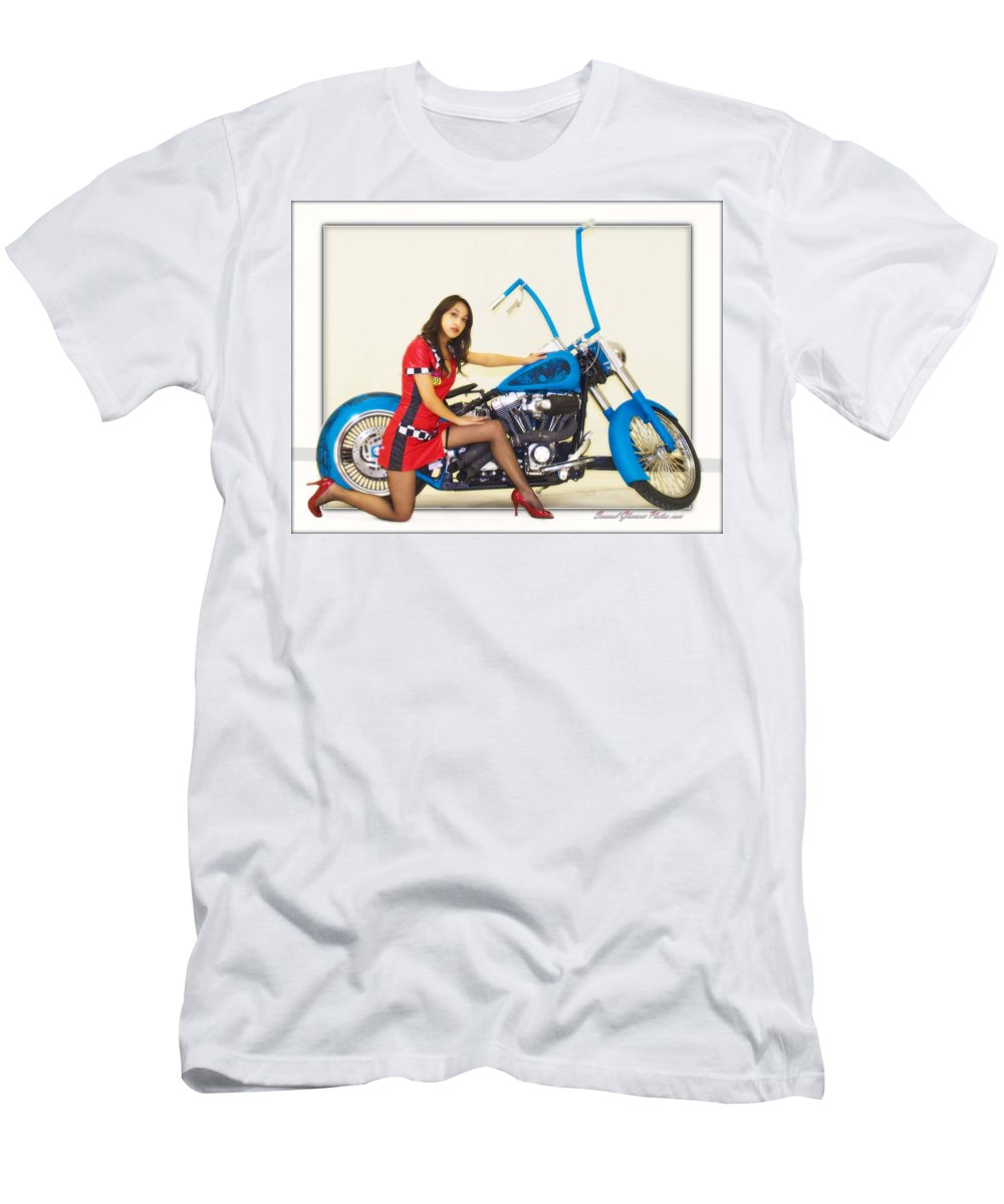 Models & Motorcycles Men's T-Shirt (Athletic Fit) featuring the photograph Models And Motorcycles by Walter Herrit