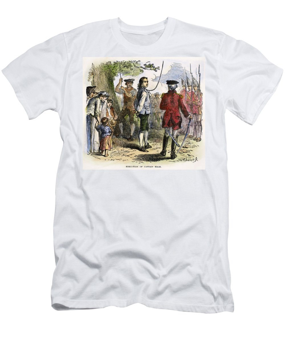 1776 Men's T-Shirt (Athletic Fit) featuring the photograph Nathan Hale (1755-1776) by Granger