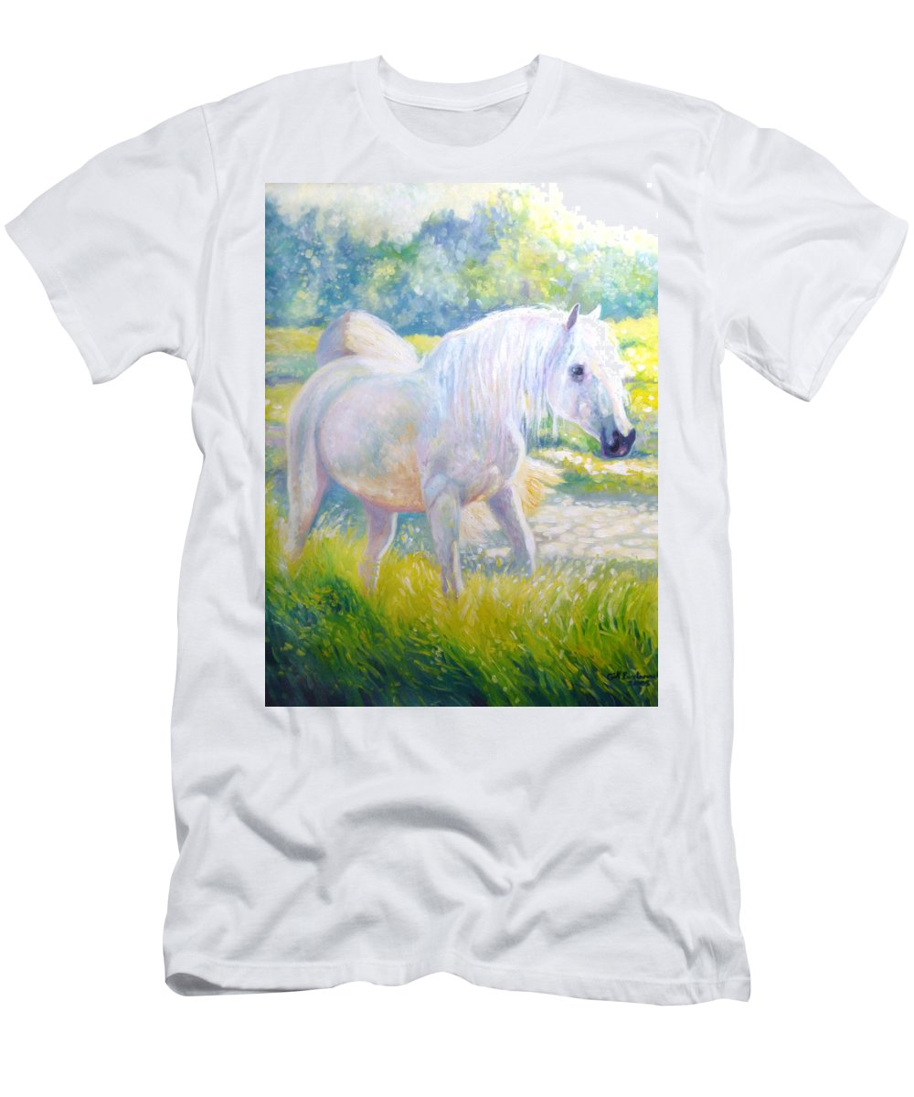 Impressionist Men's T-Shirt (Athletic Fit) featuring the painting Pretty Mare by Gill Bustamante