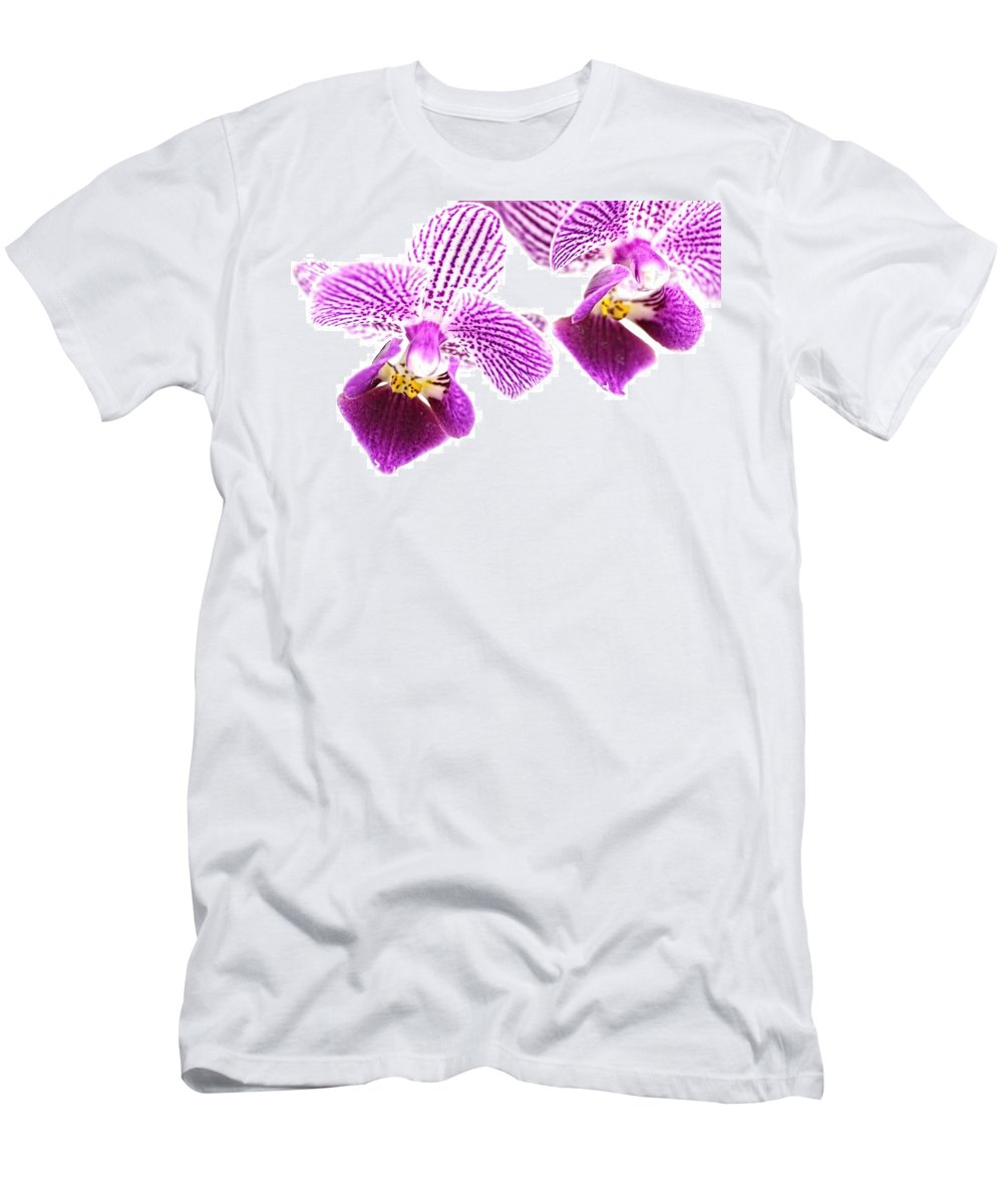 Orchid Men's T-Shirt (Athletic Fit) featuring the photograph Purple Orchid-5 by Rudy Umans