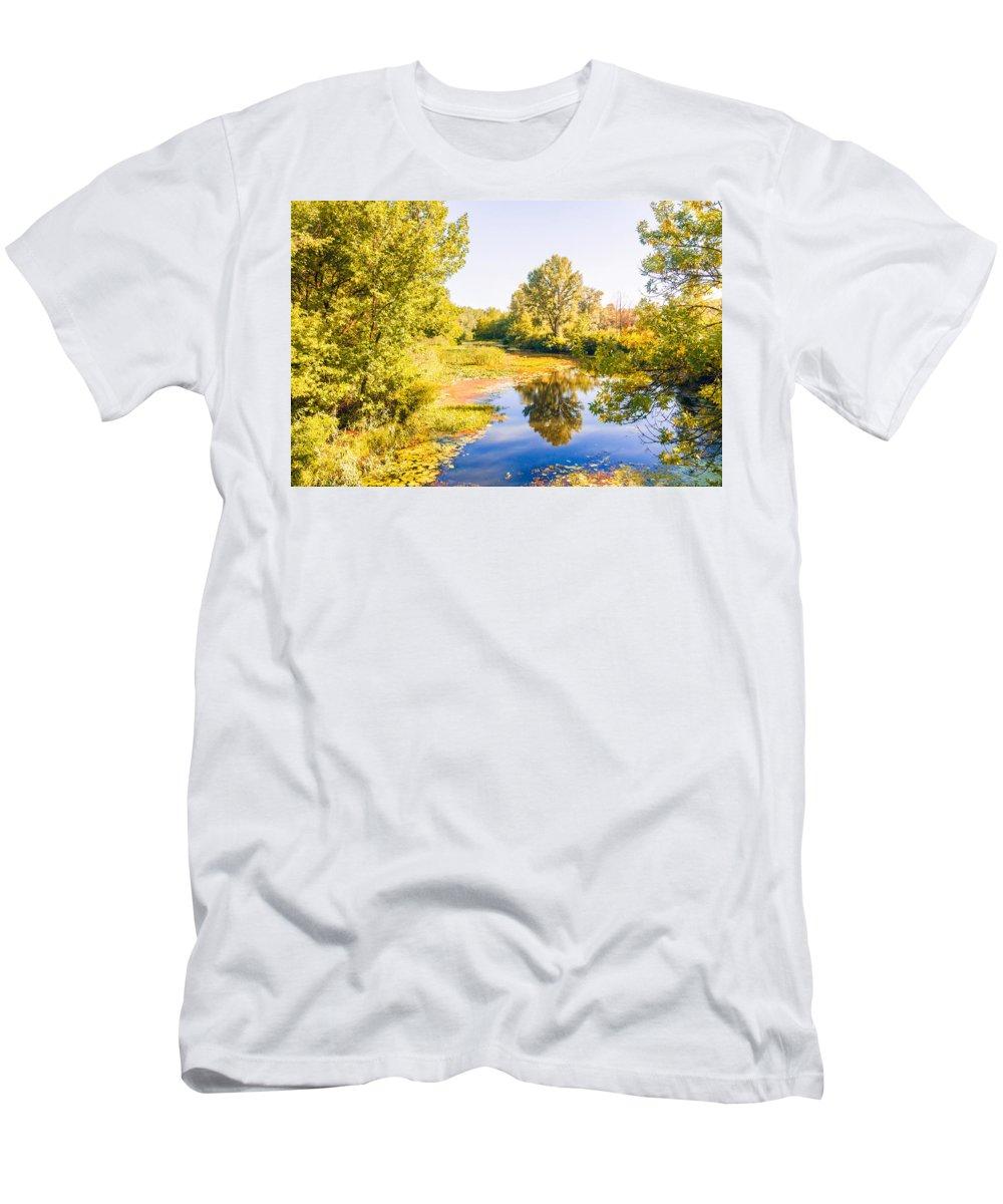 Kiev Men's T-Shirt (Athletic Fit) featuring the photograph Quiet River In The Park by Alain De Maximy