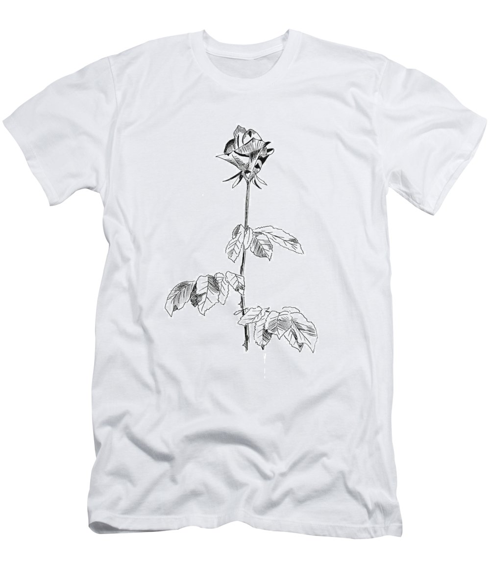 Rose Men's T-Shirt (Athletic Fit) featuring the drawing Rose by Masha Batkova