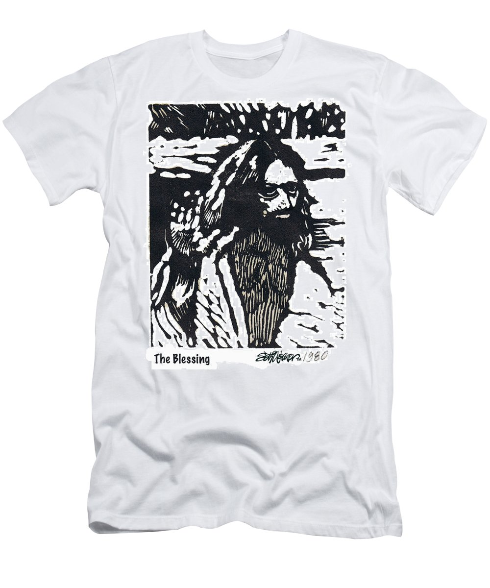 Jesus Christ T-Shirt featuring the mixed media The Blessing by Seth Weaver