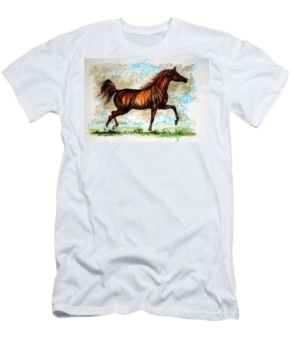 Horse Men's T-Shirt (Athletic Fit) featuring the painting The Chestnut Arabian Horse by Angel Ciesniarska