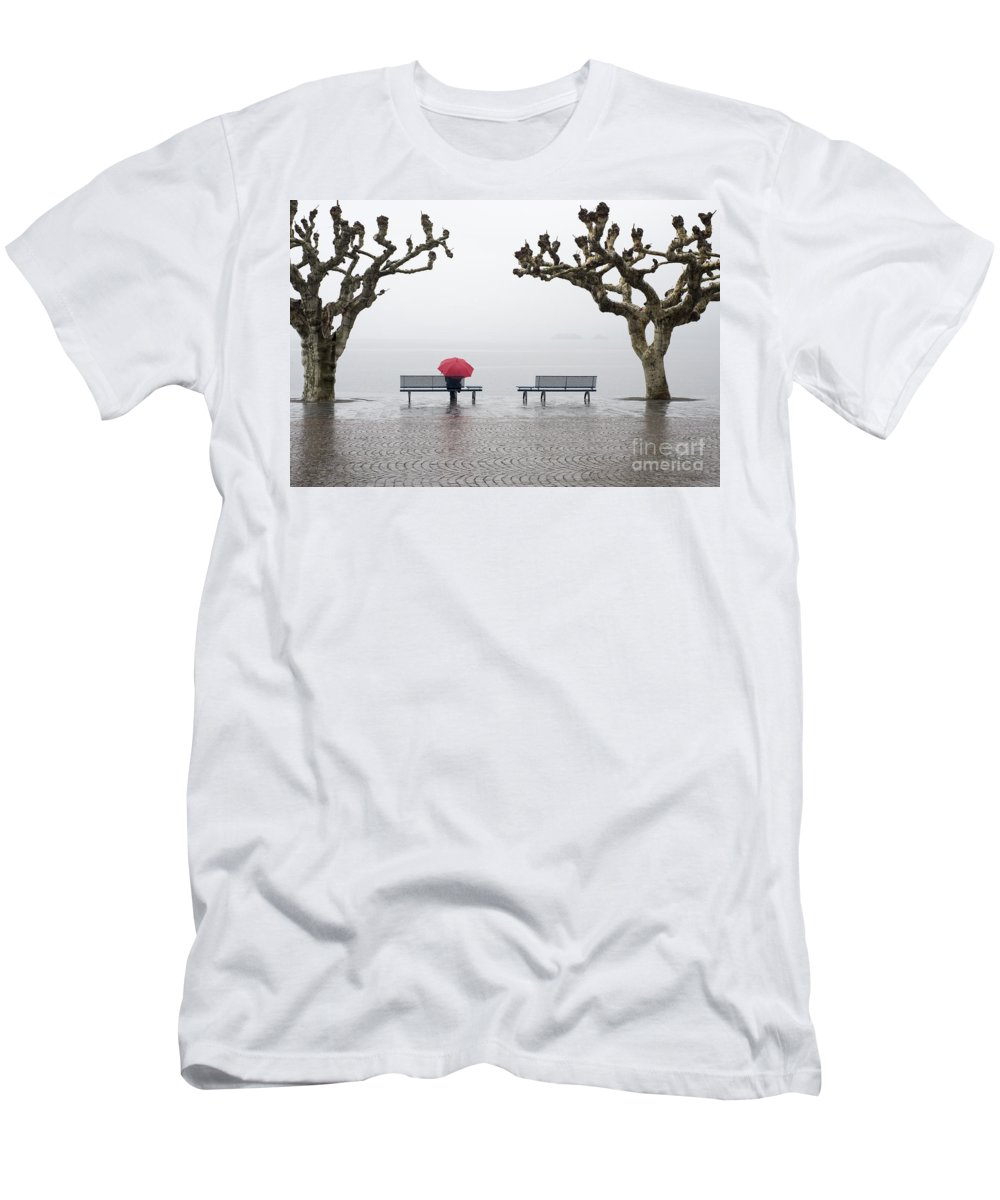 Woman Men's T-Shirt (Athletic Fit) featuring the photograph Trees And Benches by Mats Silvan