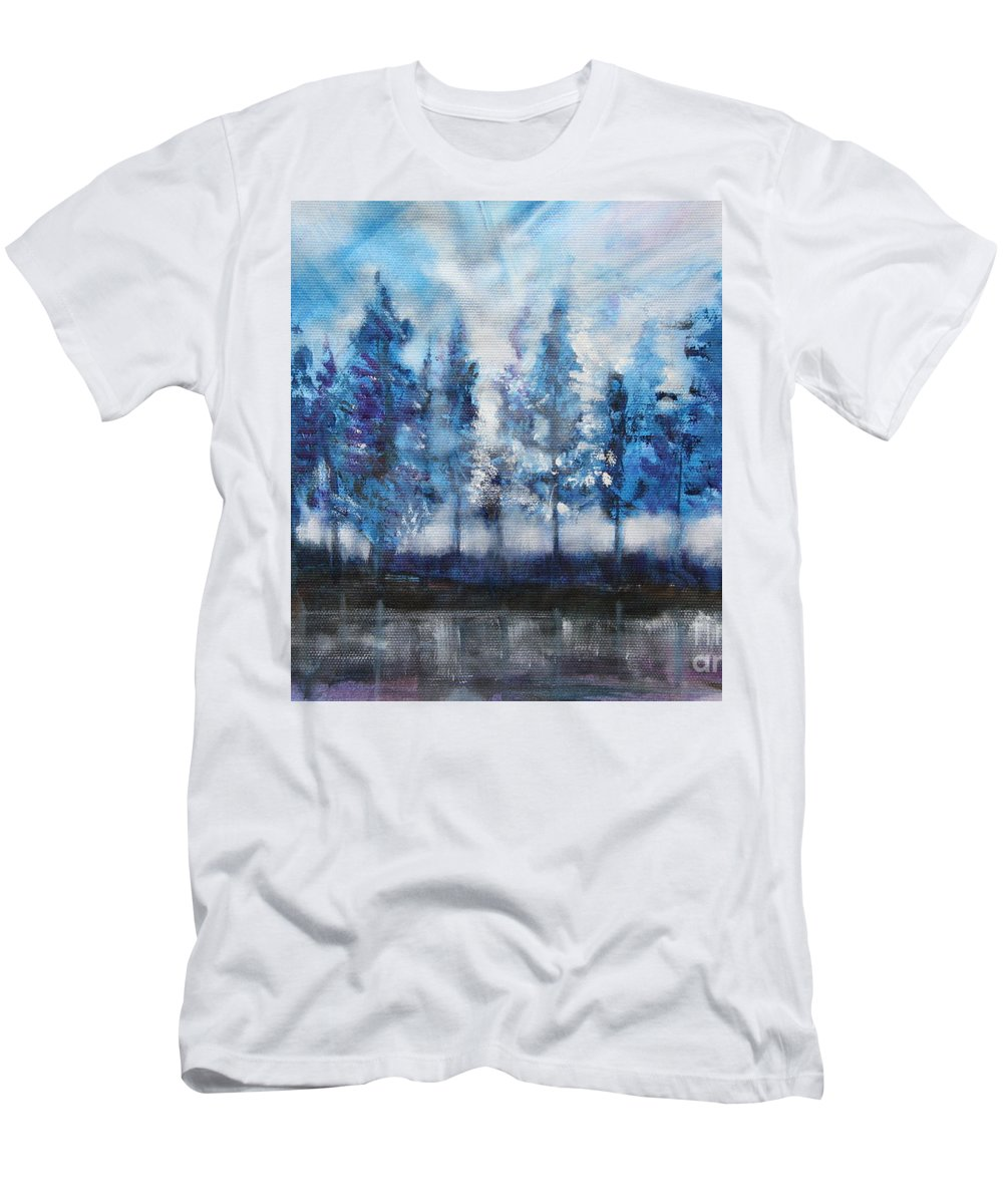 Blue Men's T-Shirt (Athletic Fit) featuring the painting Tree's by Mantra Y