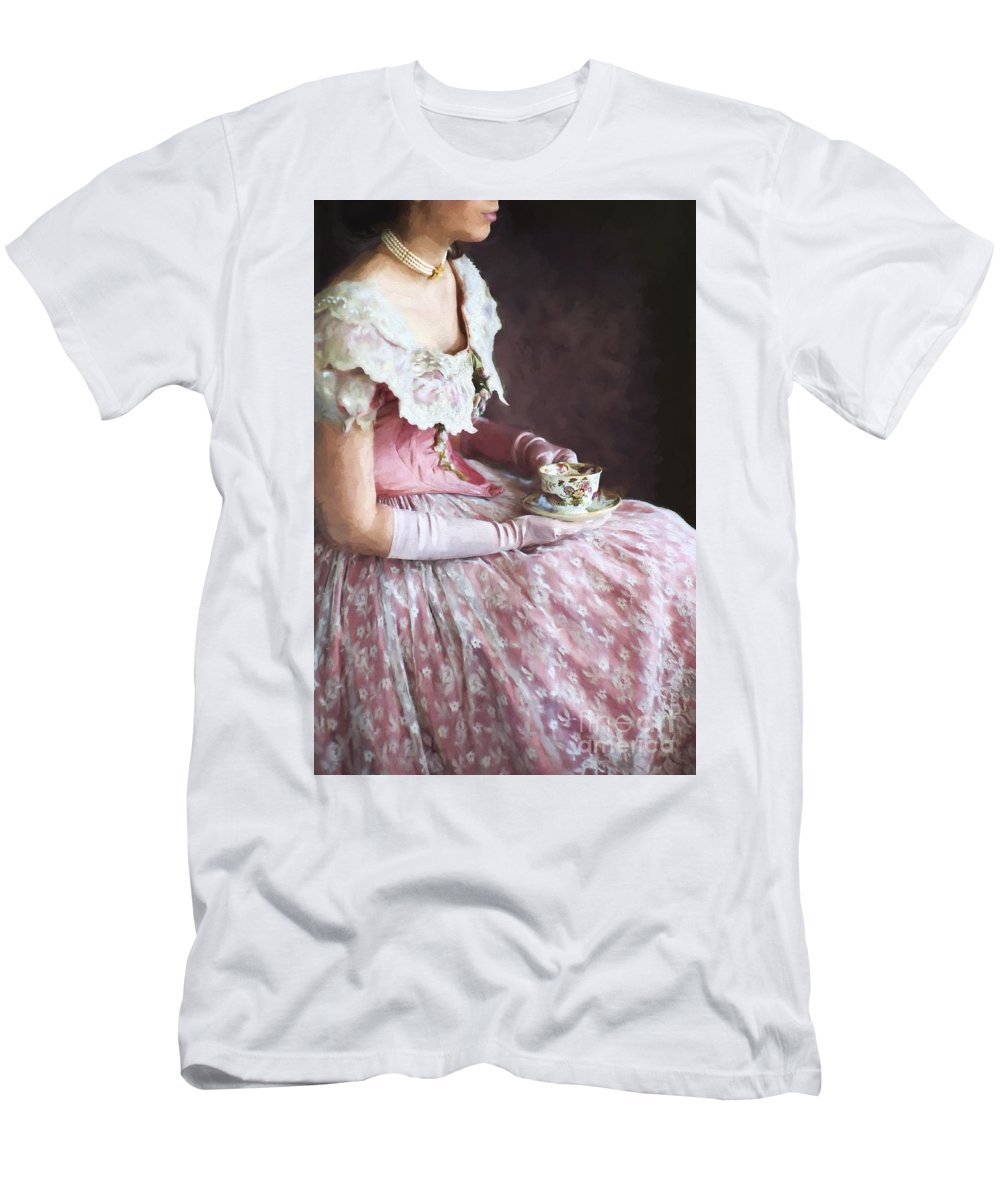 Victorian Men's T-Shirt (Athletic Fit) featuring the photograph Victorian Woman Taking Tea by Lee Avison