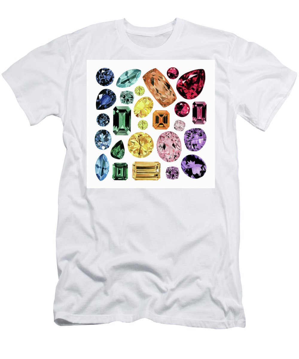 Amethyst T-Shirt featuring the painting Watercolor Painting Of Gemstones by Ikon Images