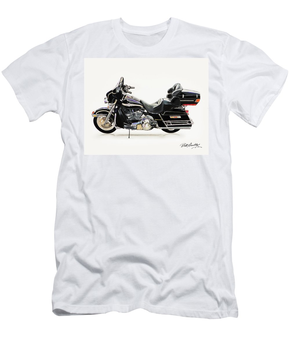 Harley Davidson Motorcycle Men's T-Shirt (Athletic Fit) featuring the painting 2003 Harley Davidson by Bill Dunkley