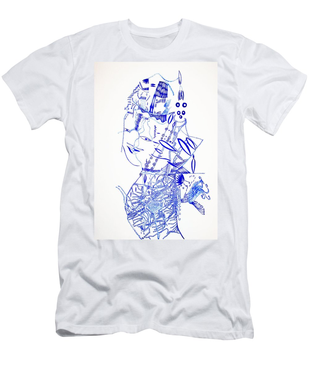 Jesus Men's T-Shirt (Athletic Fit) featuring the drawing Dinka Lady - South Sudan by Gloria Ssali