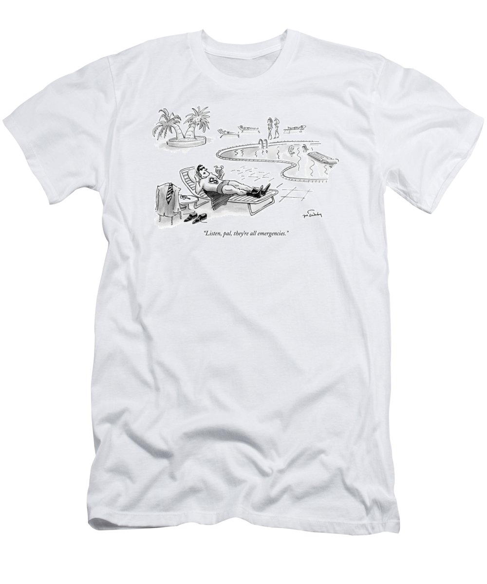 Technology Fictional Characters Comic Books Super Heros  (superman Lounging At A Pool Men's T-Shirt (Athletic Fit) featuring the drawing Listen, Pal, They're All Emergencies by Mike Twohy