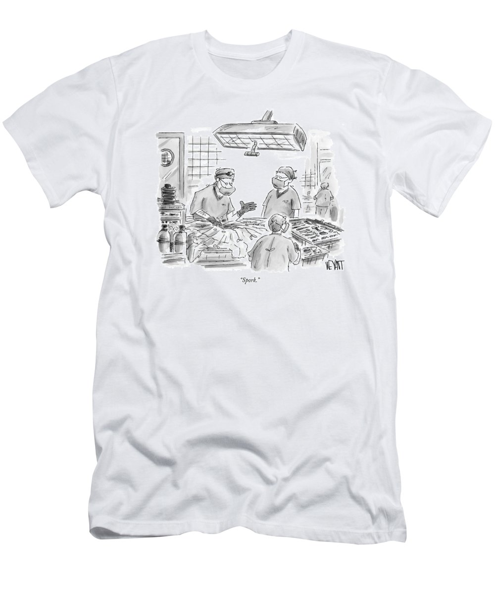 Medical Utensils Hospitals Doctor Operation Surgeons Fork Spoon   (surgeon In Operating Room.) 120434 Cwe Christopher Weyant T-Shirt featuring the drawing Spork by Christopher Weyant