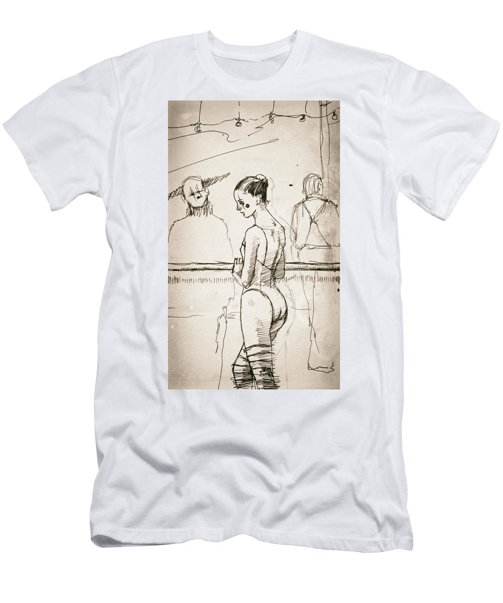 Ballerina Men's T-Shirt (Athletic Fit) featuring the drawing Alone by H James Hoff