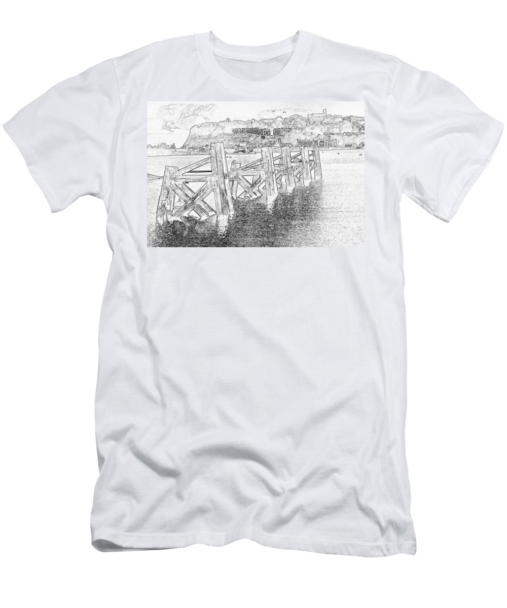 Cardiff Bay Men's T-Shirt (Athletic Fit) featuring the photograph Cardiff Bay by Steve Purnell