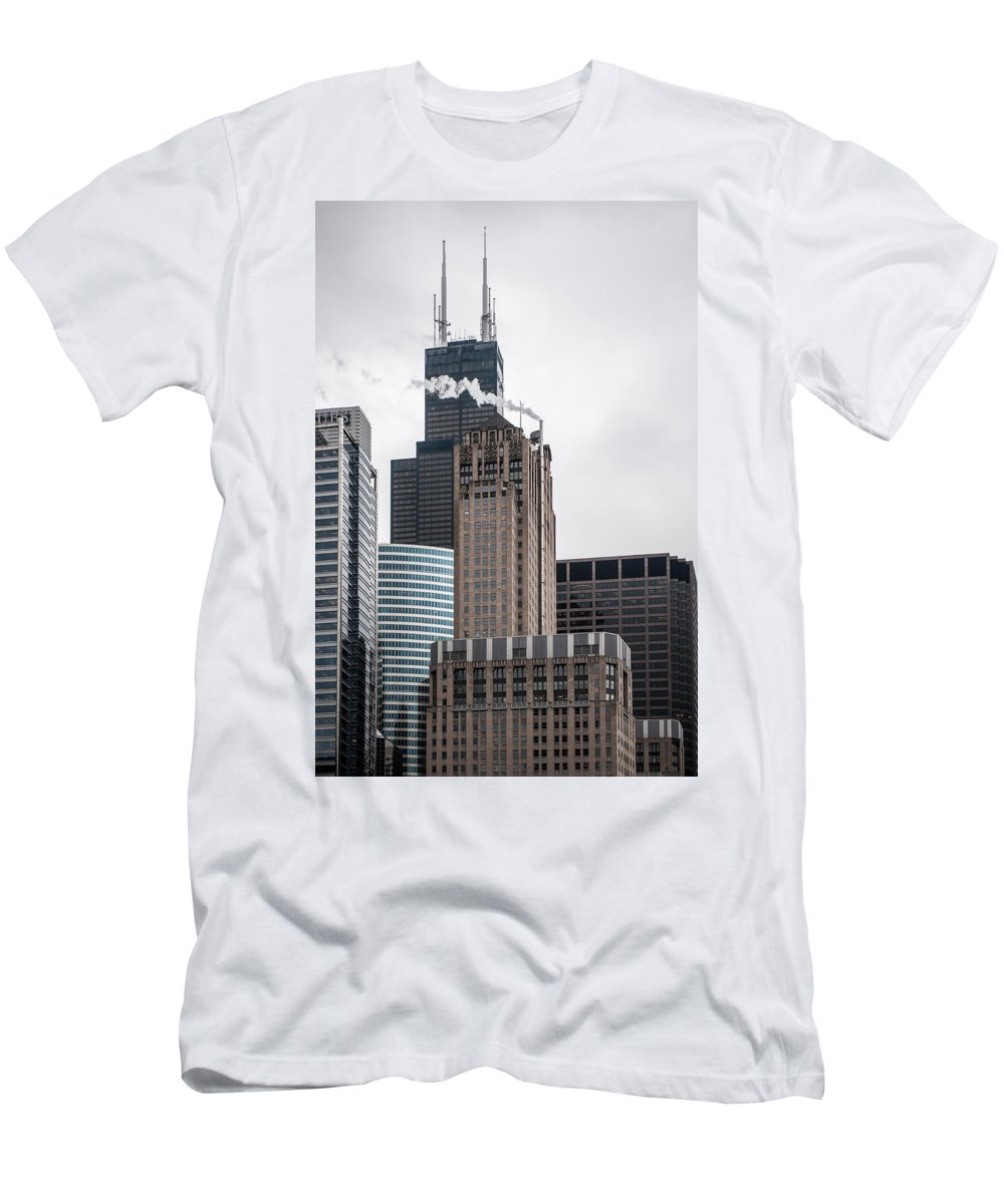 Architecture Men's T-Shirt (Athletic Fit) featuring the photograph Chicago Architecture by Alex Grichenko