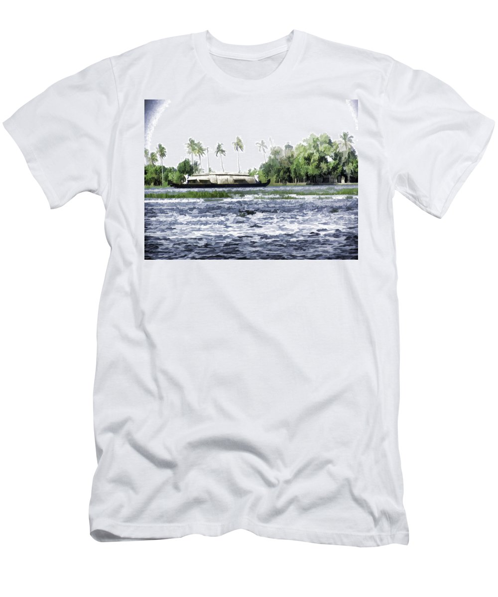 Backwater Men's T-Shirt (Athletic Fit) featuring the digital art Digital Oil Painting - A Houseboat On Its Quiet Sojourn Through The Backwaters by Ashish Agarwal