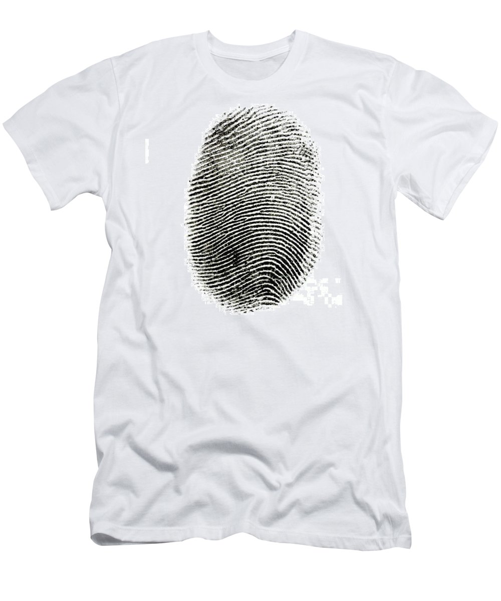 Print Men's T-Shirt (Athletic Fit) featuring the photograph Fingerprint by Photo Researchers Inc