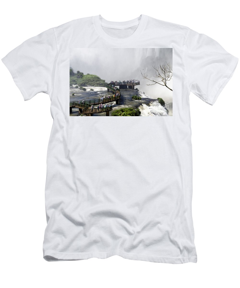 Iguazu Falls Men's T-Shirt (Athletic Fit) featuring the photograph Iquazu Falls - South America by Jon Berghoff