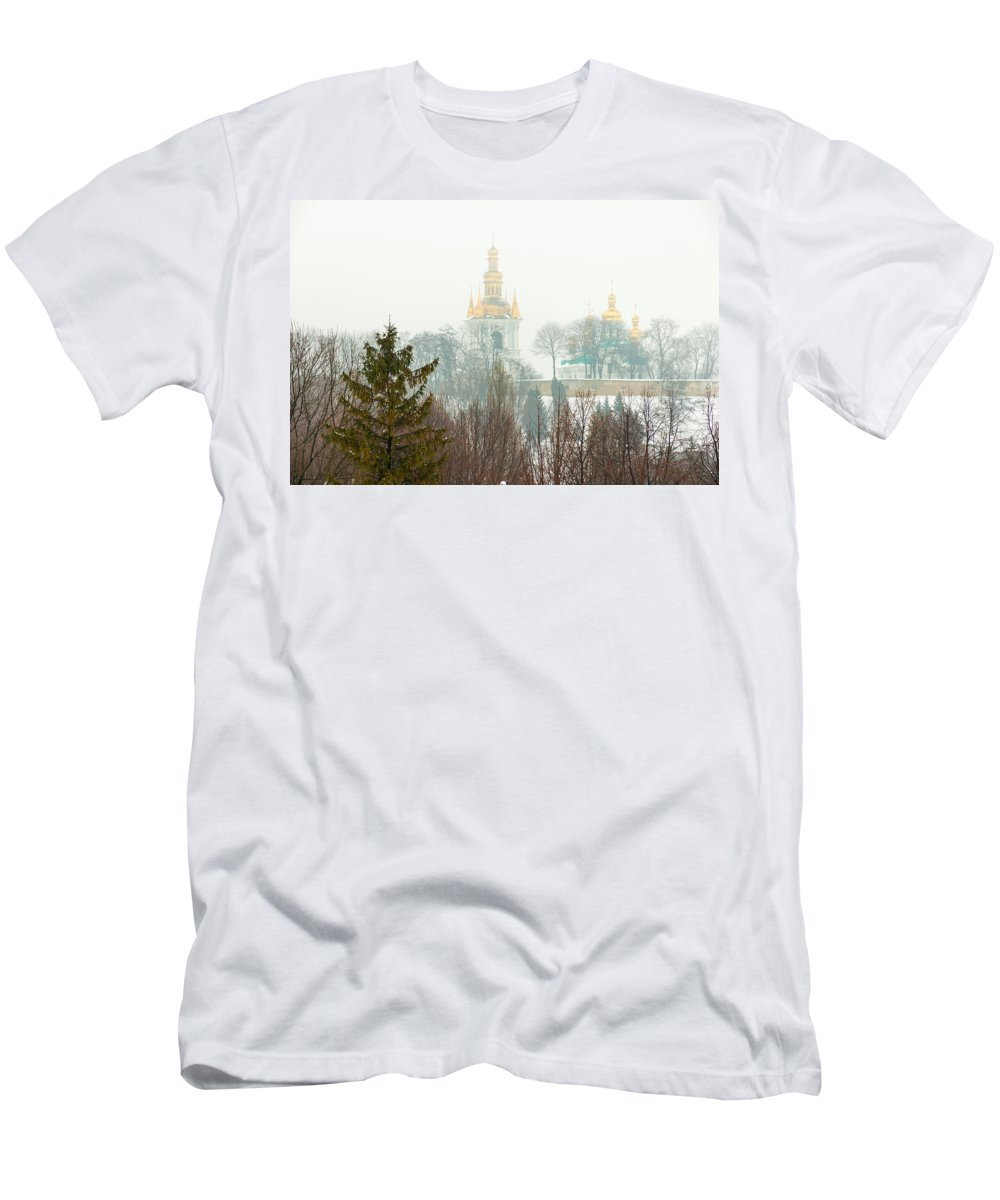 Kiev Men's T-Shirt (Athletic Fit) featuring the photograph Lavra Monastery In Kiev by Alain De Maximy