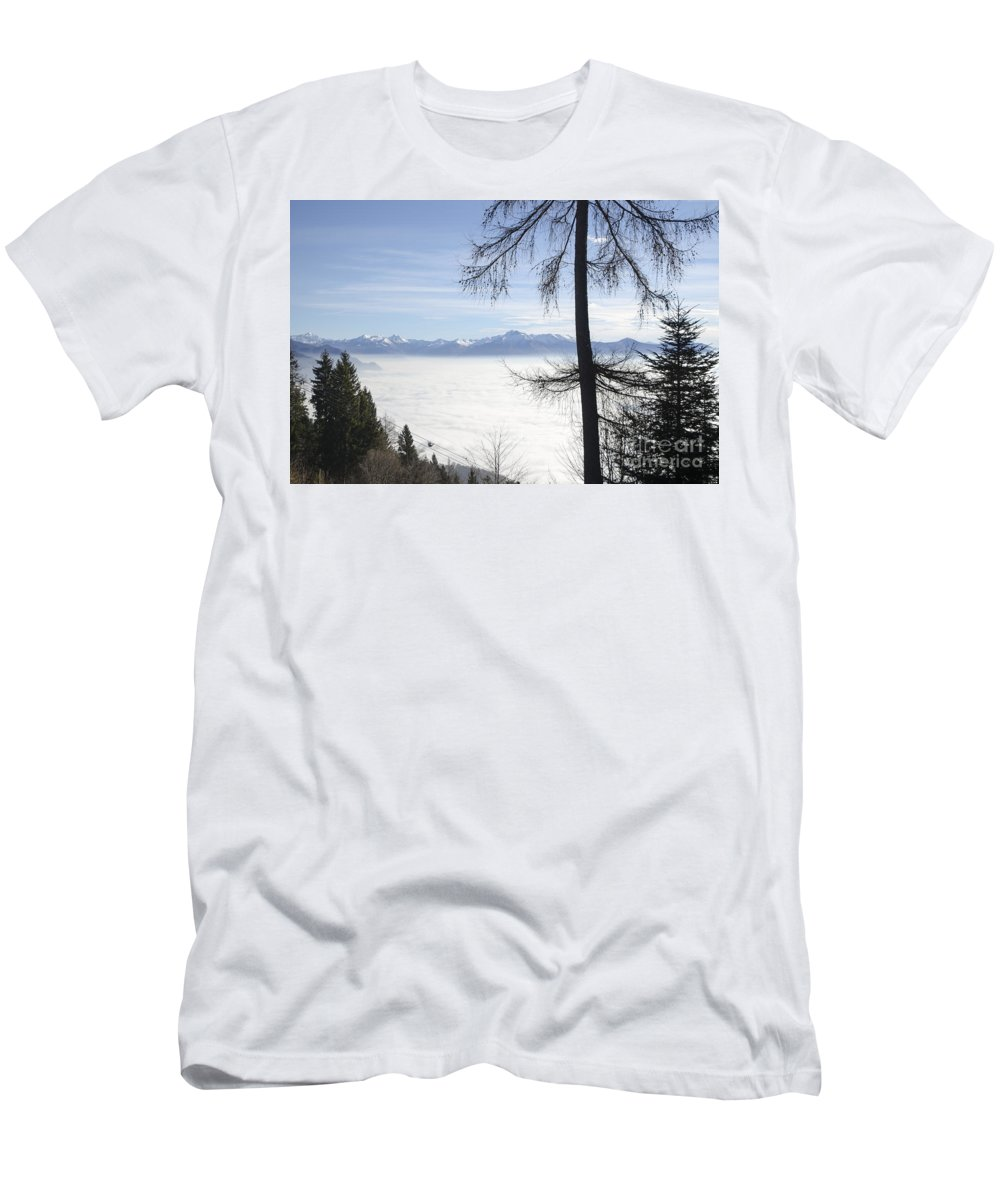 Sea Of Fog Men's T-Shirt (Athletic Fit) featuring the photograph Sea Of Fog Over An Alpine Lake by Mats Silvan
