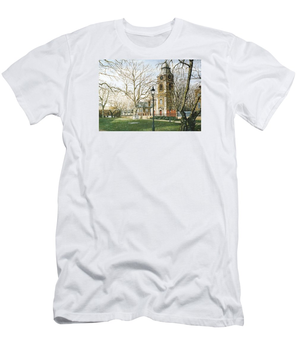 St Johns Men's T-Shirt (Athletic Fit) featuring the painting St Johns Church Wapping London by Mackenzie Moulton
