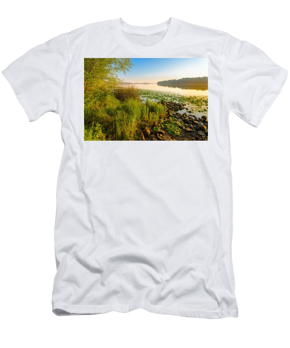 Dnipro Dnieper Men's T-Shirt (Athletic Fit) featuring the photograph View Of The Dniper River At Morning by Alain De Maximy