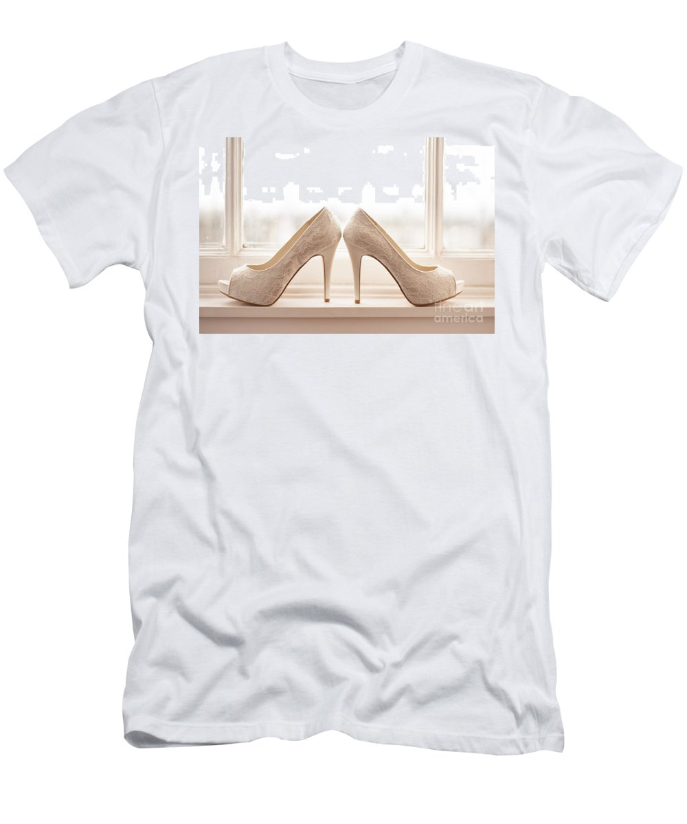 Wedding Men's T-Shirt (Athletic Fit) featuring the photograph Wedding Shoes by Lee Avison