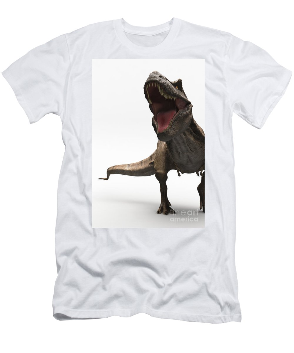 Digitally Generated Image Men's T-Shirt (Athletic Fit) featuring the photograph Dinosaur Tyrannosaurus by Science Picture Co