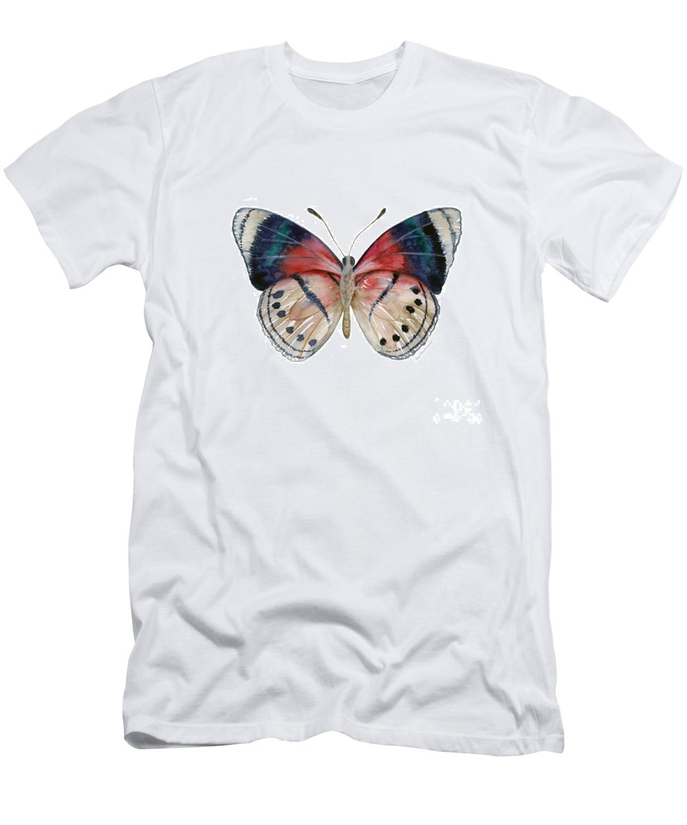 Perisama Men's T-Shirt (Athletic Fit) featuring the painting 30 Perisama Vaninka Butterfly by Amy Kirkpatrick