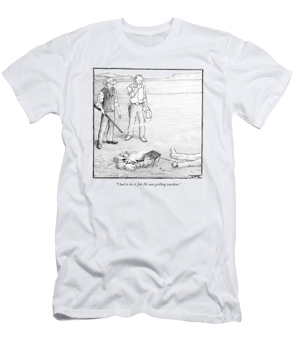 Motivation Brokeback Mountain Food Western Word Play Gay   (cowboy Explains Men's T-Shirt (Athletic Fit) featuring the drawing by Matthew Diffee