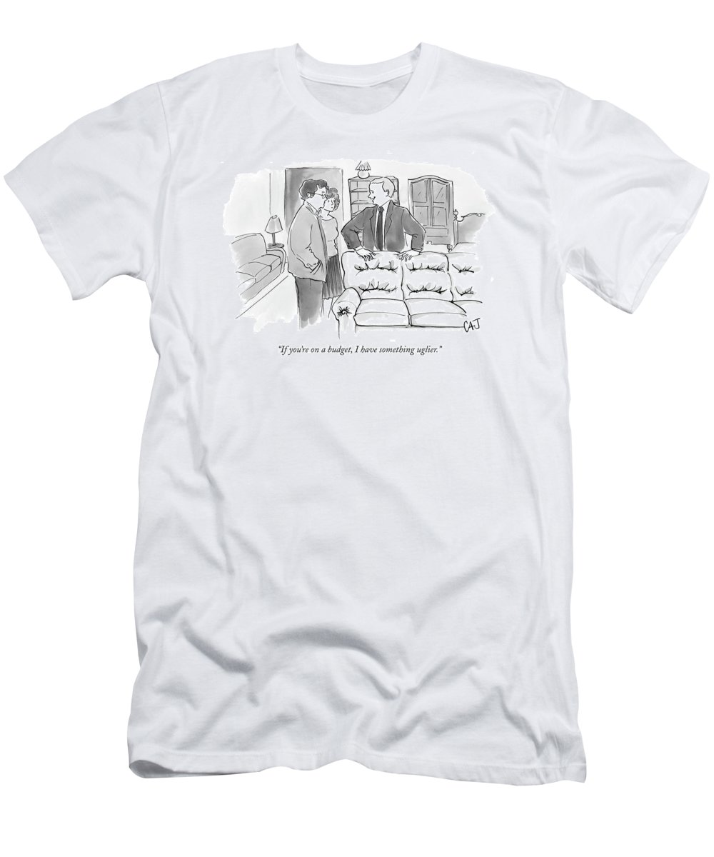 Consumerism Shopping Word Play Money Rich Poor T-Shirt featuring the drawing If You're On A Budget by Carolita Johnson