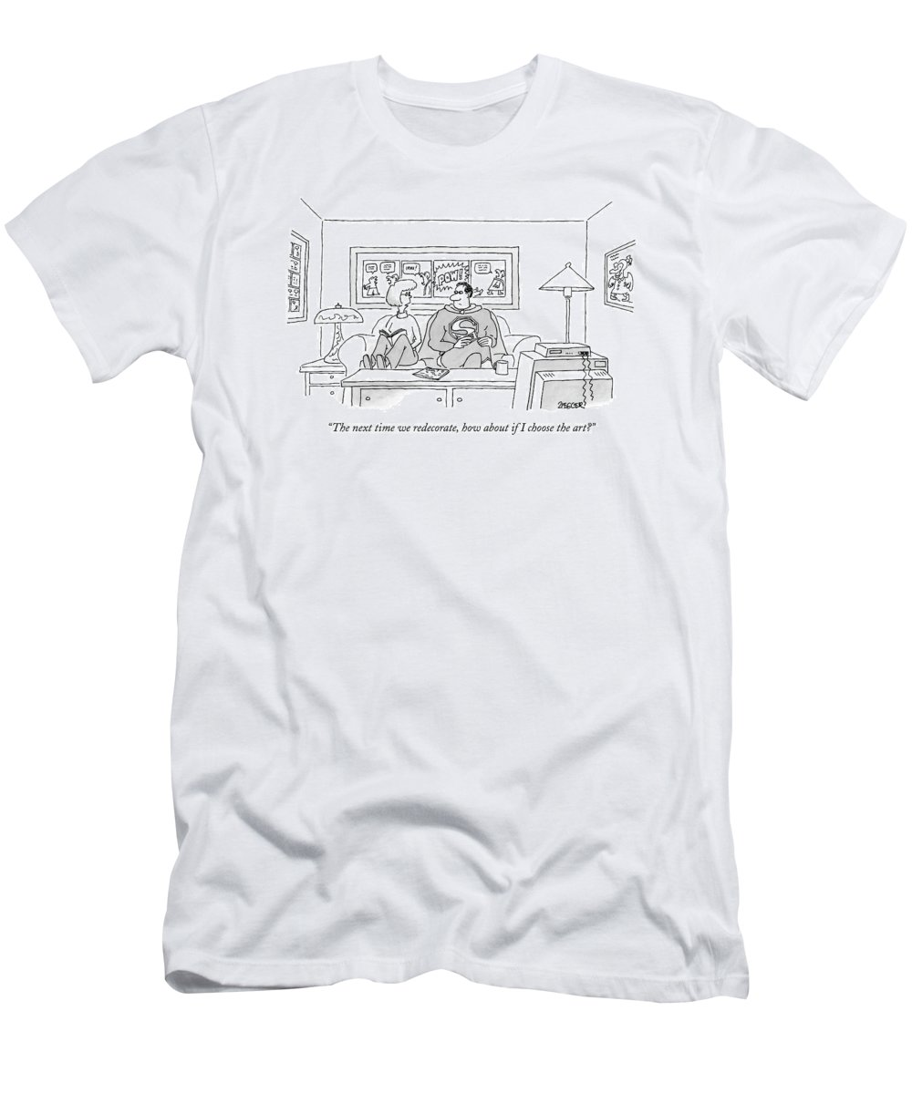 Fictional Characters Interiors Pop Art  (wife Talking To Superman About The Comic Book Art Decorating The Room. ) 122533 Jzi Jack Ziegler Men's T-Shirt (Athletic Fit) featuring the drawing The Next Time We Redecorate by Jack Ziegler