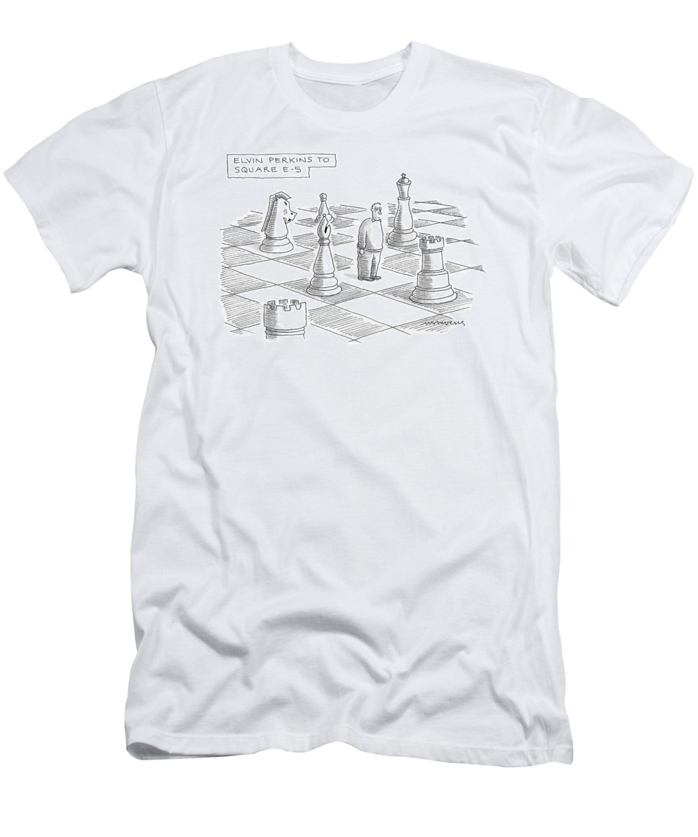 Games Modern Life Problems  (troubled Man Standing On Giant Chess Board.) 120697 Mst Mick Stevens Men's T-Shirt (Athletic Fit) featuring the drawing Elvin Perkins To Square E-5 by Mick Stevens