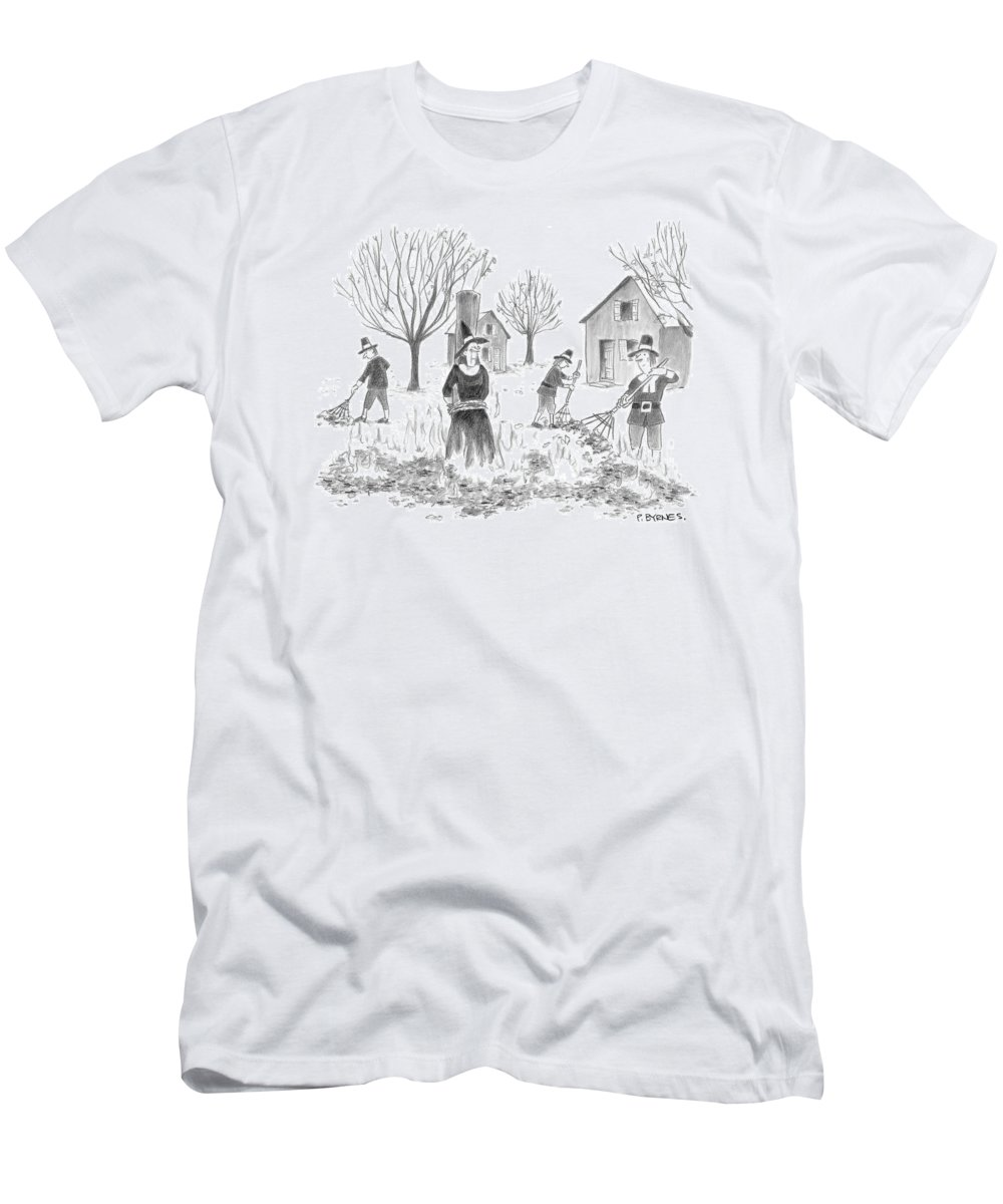Death Witch Witchcraft Burn Salem American History Autumn Fall   (pilgrims Burning Pile Of Leaves With A Witch In The Center.) 121628 Pby Pat Byrnes Men's T-Shirt (Athletic Fit) featuring the drawing New Yorker November 28th, 2005 by Pat Byrnes