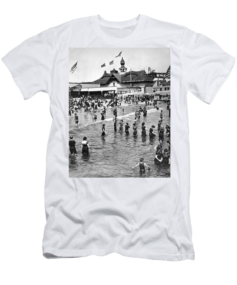 1900s Men's T-Shirt (Athletic Fit) featuring the photograph Bathers At Coney Island by Underwood Archives