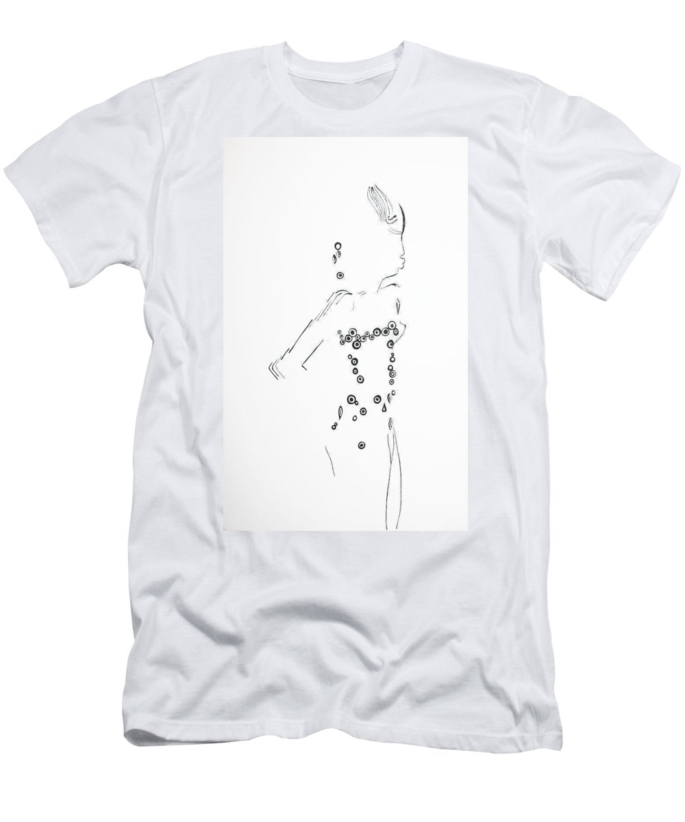 Jesus Men's T-Shirt (Athletic Fit) featuring the drawing Dinka Silhouette - South Sudan by Gloria Ssali