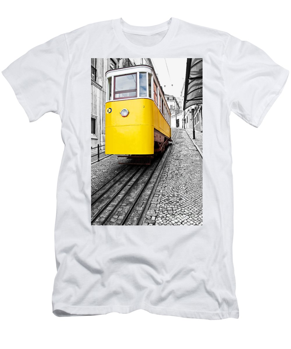 Elevador Men's T-Shirt (Athletic Fit) featuring the photograph Gloria Funicular by Jose Elias - Sofia Pereira