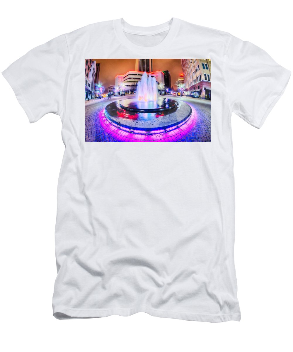 Tulsa Men's T-Shirt (Athletic Fit) featuring the photograph Tulsa City Skyline Around Downtown Streets by Alex Grichenko