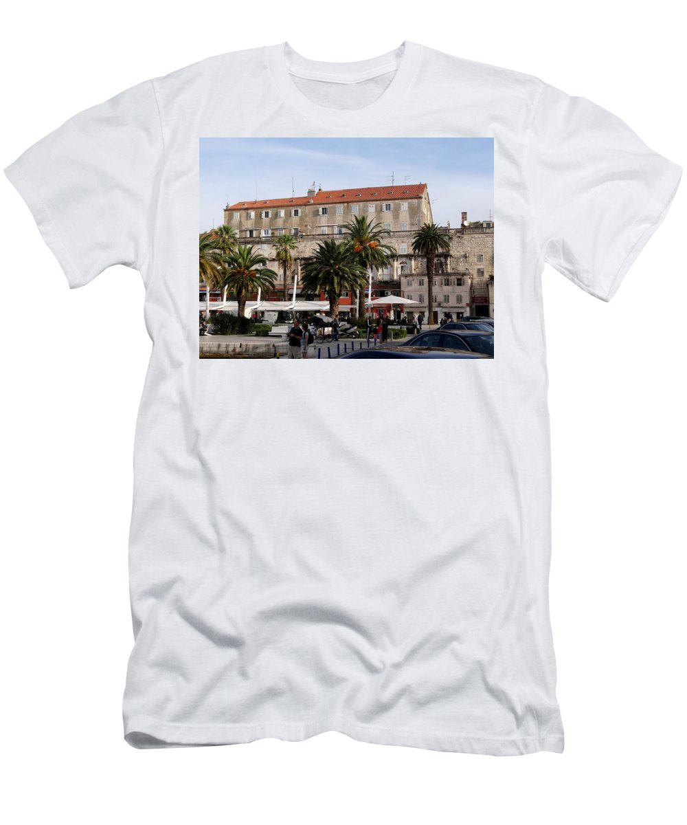 Mediterranean Men's T-Shirt (Athletic Fit) featuring the photograph Views Of Split Croatia by Richard Rosenshein