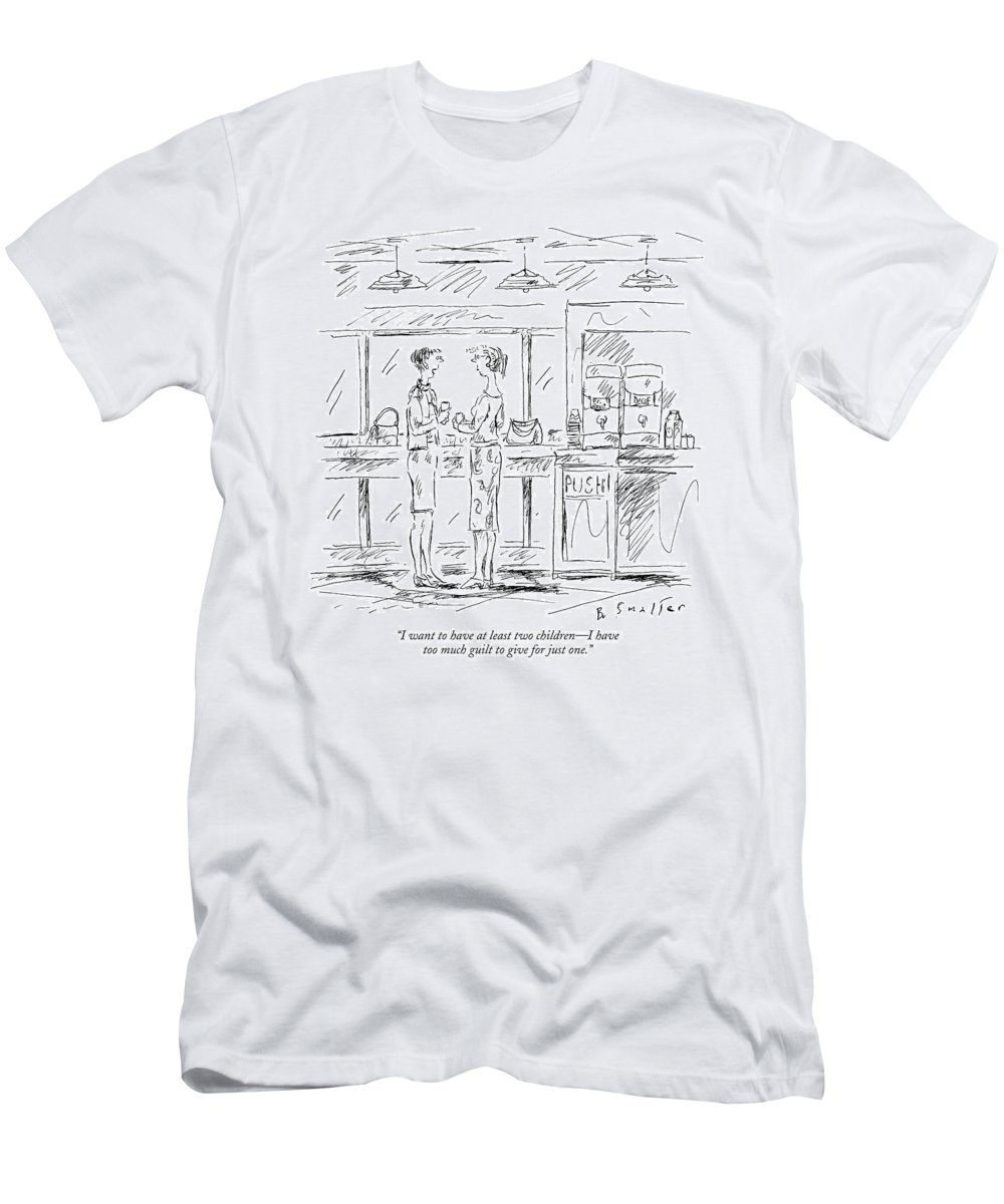 Relationships Family Motivation Problems Psychology  (one Woman Talking To Another.) 120963 Bsm Barbara Smaller Men's T-Shirt (Athletic Fit) featuring the drawing I Want To Have At Least Two Children - by Barbara Smaller