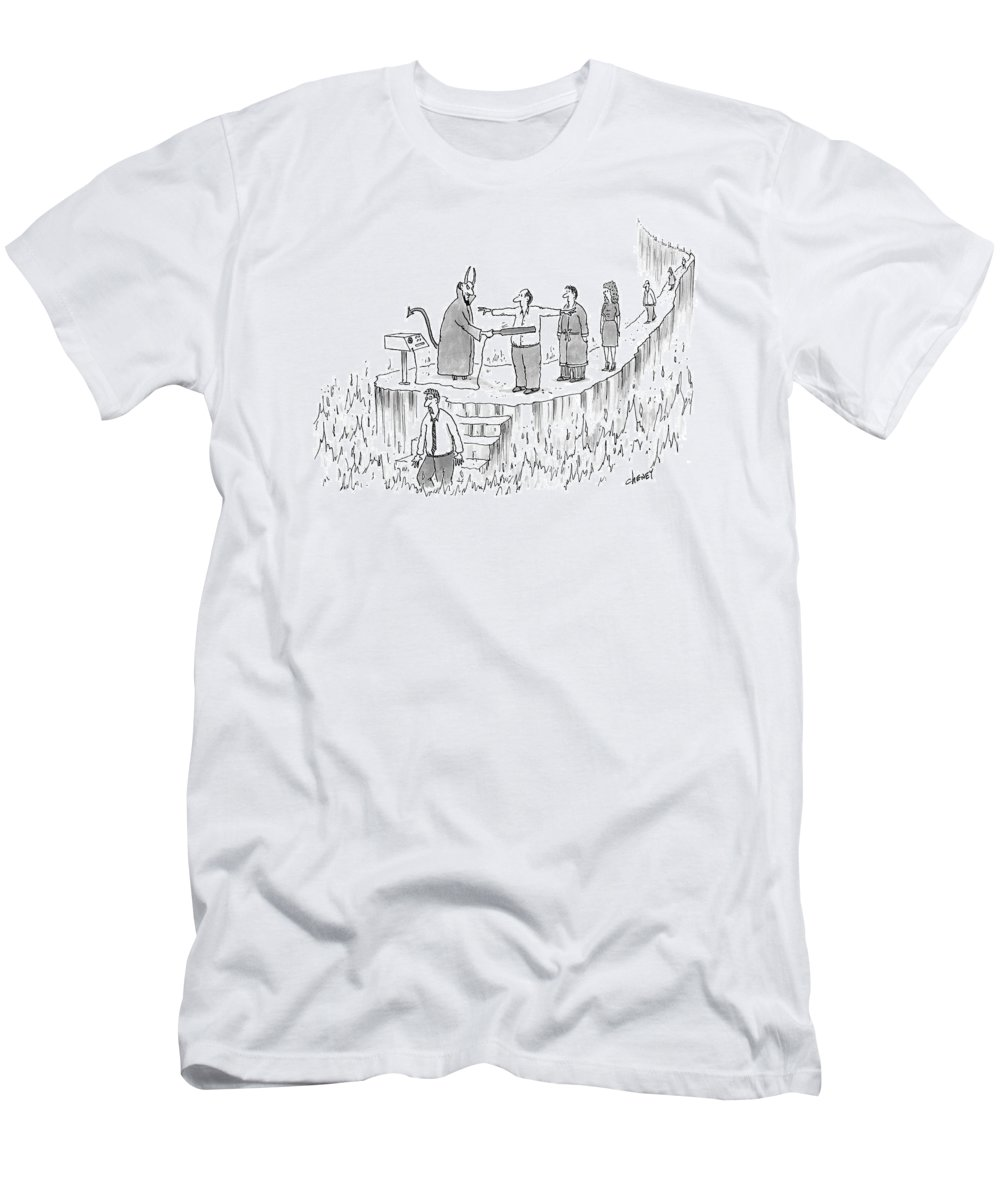 Death Hell Problems Security T-Shirt featuring the drawing New Yorker March 7th, 2005 by Tom Cheney