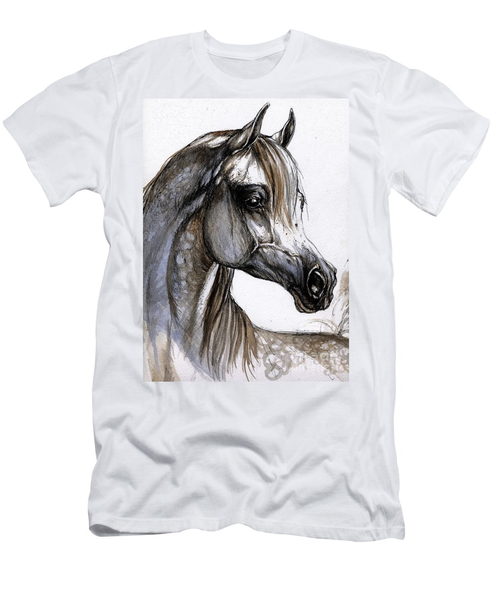 Horse Men's T-Shirt (Athletic Fit) featuring the painting Arabian Horse by Angel Ciesniarska