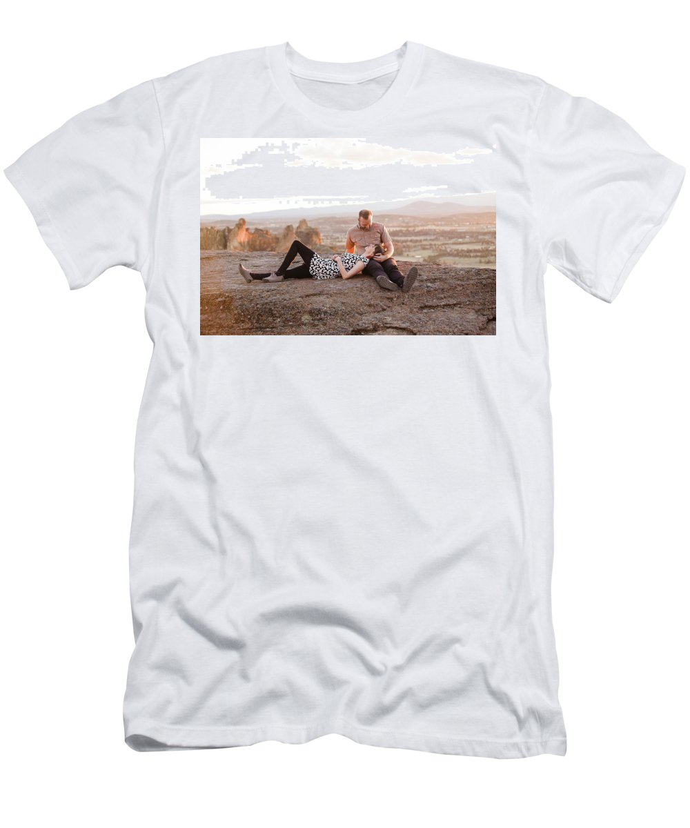 Women Men's T-Shirt (Athletic Fit) featuring the photograph Engaged Couple At Smith Rock In Oregon by Joshua Rainey