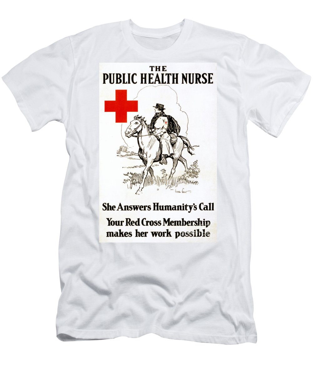 1917 Men's T-Shirt (Athletic Fit) featuring the photograph Red Cross Poster, C1917 by Granger