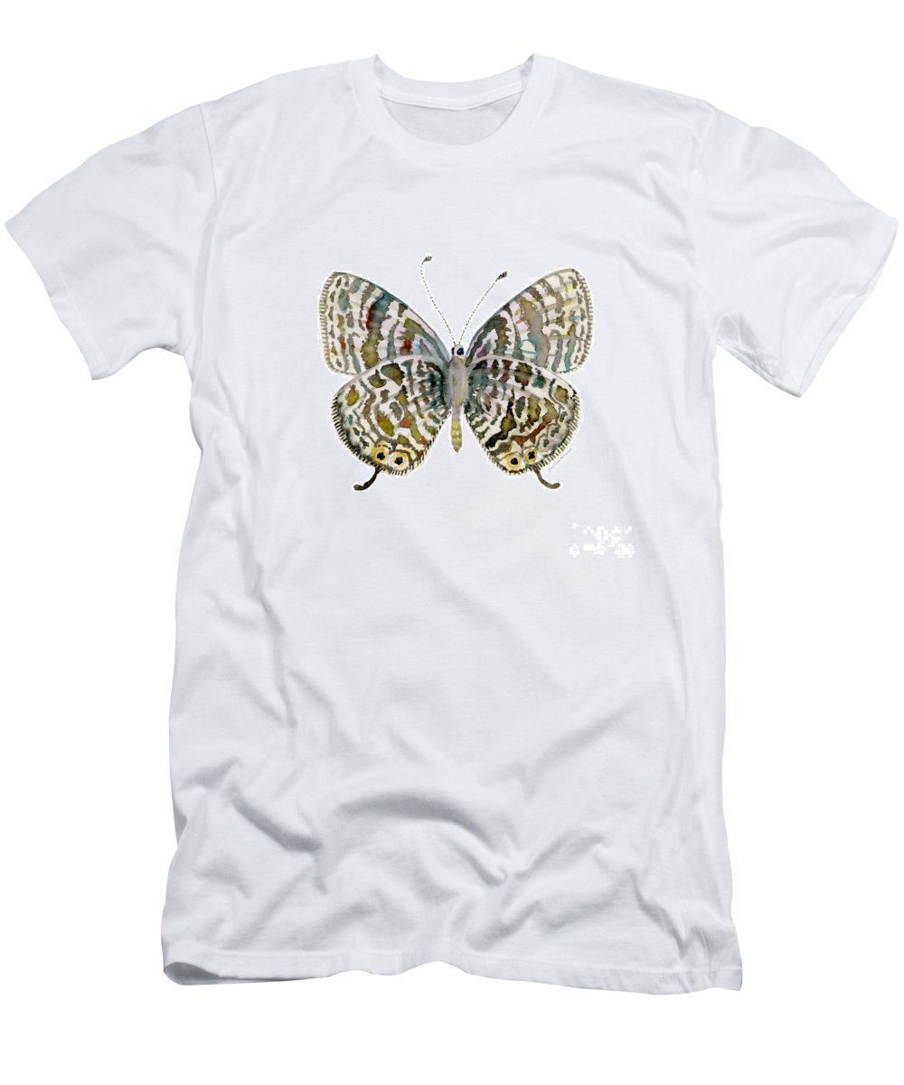 Lang Men's T-Shirt (Athletic Fit) featuring the painting 51 Lang's Short-tailed Blue Butterfly by Amy Kirkpatrick