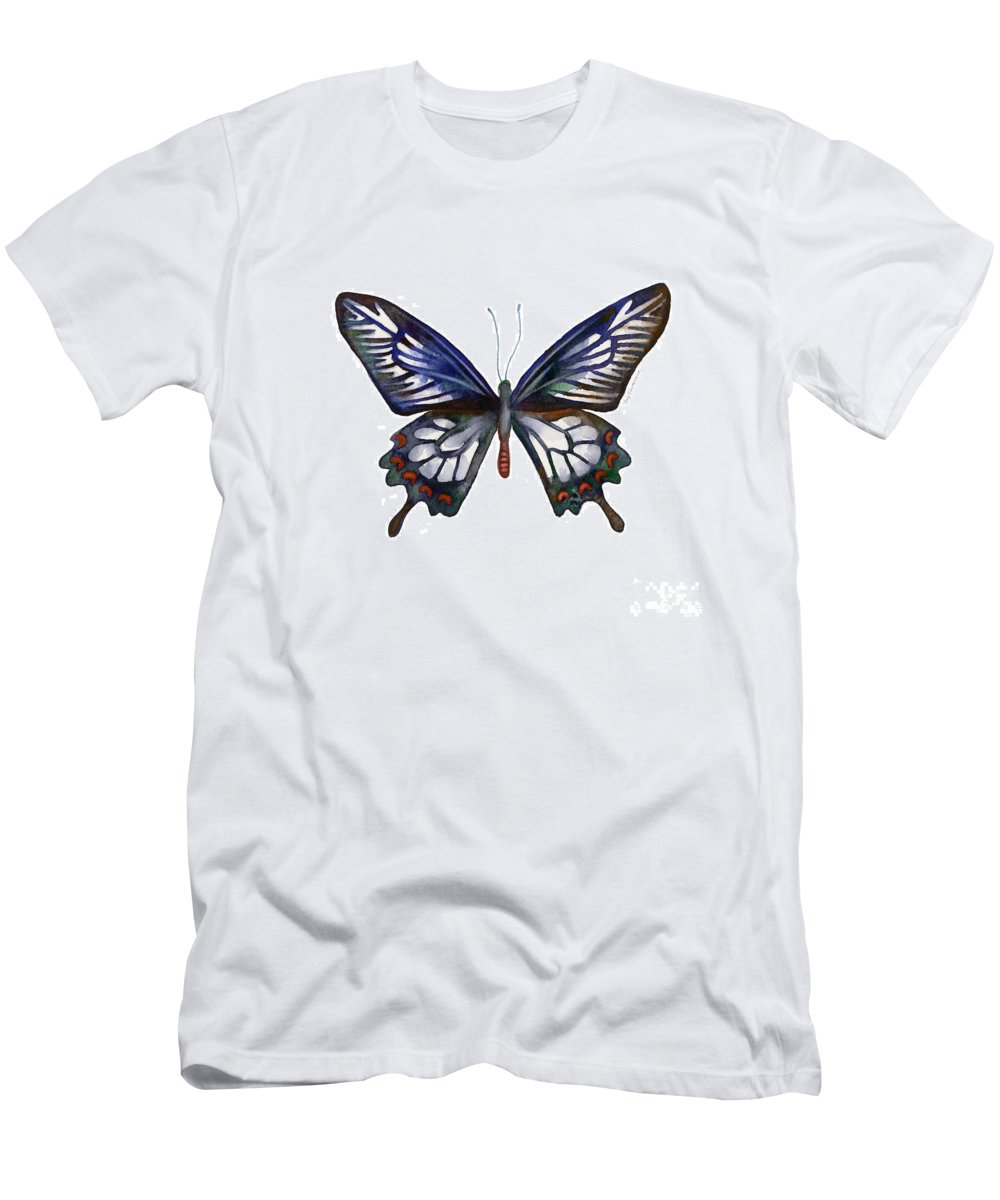 Ceylon Men's T-Shirt (Athletic Fit) featuring the painting 54 Ceylon Rose Butterfly by Amy Kirkpatrick