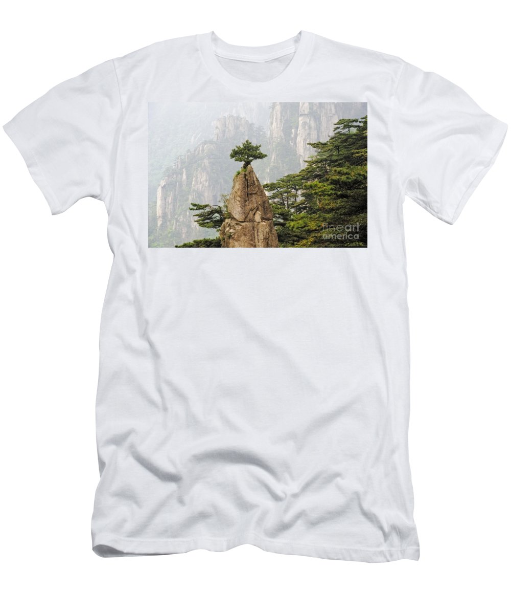 Asia Men's T-Shirt (Athletic Fit) featuring the photograph Chinese White Pine On Mt. Huangshan by John Shaw