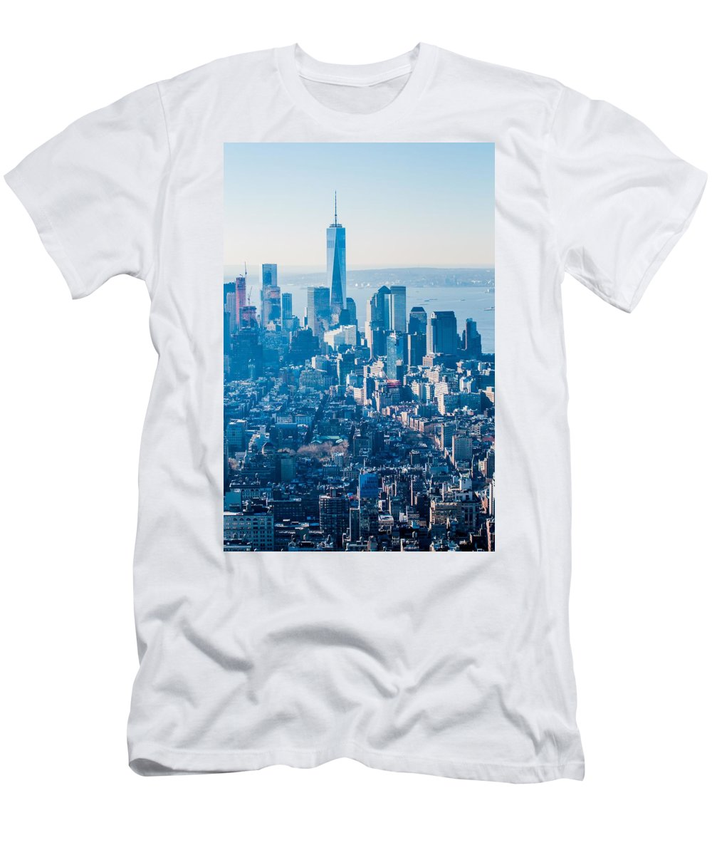 New Men's T-Shirt (Athletic Fit) featuring the photograph New York City Manhattan Midtown Aerial Panorama View With Skyscr by Alex Grichenko